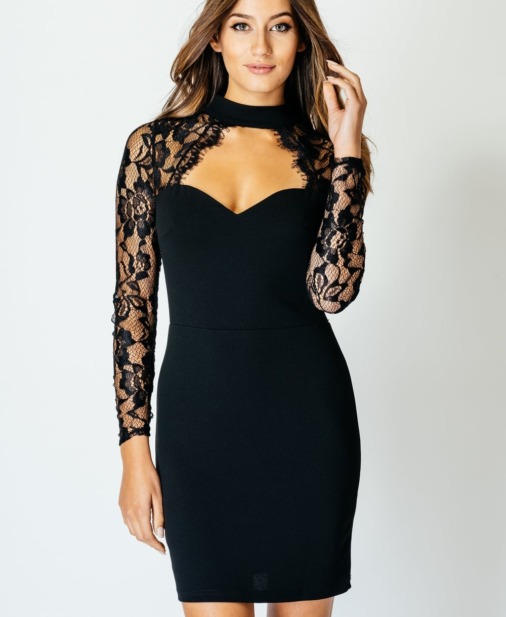 Lace Choker Cut Out Front Bodycon Dress Pretty Panther